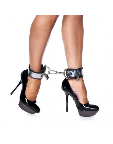 Rimba - Leather footcuffs with metal and padlock
