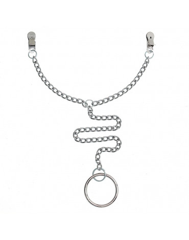 Rimba - Nipple clamps with chain and scrotum ring Ø 50 mm.