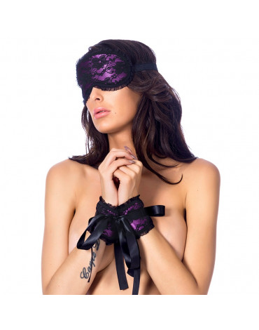 Esposas satinado con máscara
