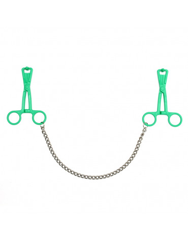 Rimba - Scissor nipple clamps of synthetic material with chain