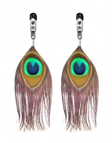 Rimba - Nippel Clamps with peacock feather trim (pair)