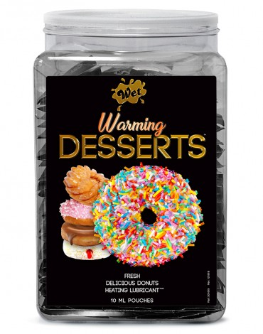 WET Warming  Desserts Fresh Delicious Donuts 144 x 10ml. pouch Counter Bowl display