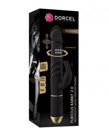 Dorcel - Furious Rabbit 2.0 - Thrusting en Rotating Vibrator - Zwart - 6072523