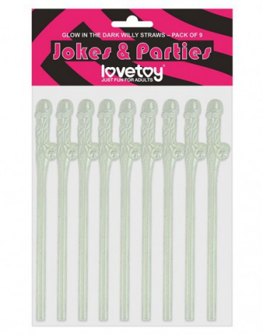 Love Toy - Glow in The Dark Willy Straws - Pack of 9