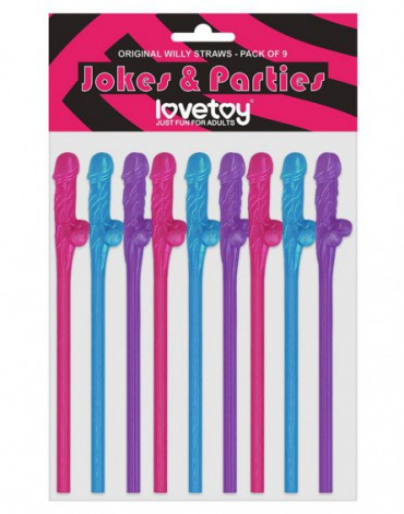 Love Toy - Multicolor Willy Straws - Pack of 9