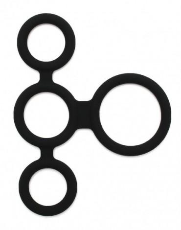 Rimba Latex Play - Quatro Cock Ring en Ball Splitter - Zwart